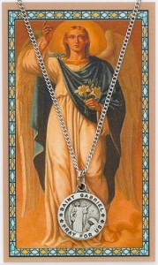 Round St. Gabriel The Archangel Medal with Prayer Card [PC0074]