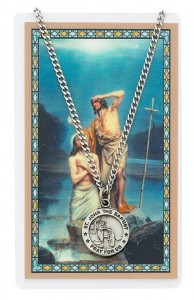 Round St. John The Baptist Medal with Prayer Card [PC0047]