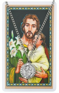 Round St. Joseph Medal with Prayer Card [PC0095]