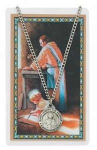 Round St. Joseph The Worker Medal and Prayer Card [PCMV007]