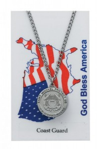 Round St. Michael Coast Guard Medal with Prayer Card [PC0069]