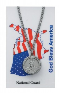 Round St. Michael National Guard Medal with Prayer Card [PC0071]