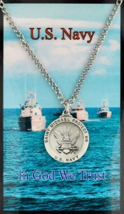 Round St. Michael Navy Medal with Prayer Card [PC0072]