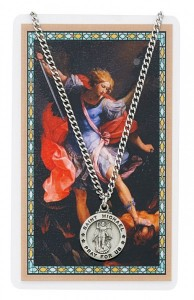 Round St. Michael The Archangel Medal with Prayer Card [PC0054]