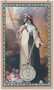 Round St. Rose of Lima Medal with Prayer Card [PC0062]