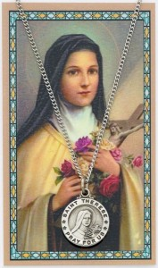 Round St. Therese Medal with Prayer Card [PC0099]