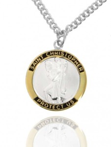 Round Two-Tone Sterling Silver Saint Christopher Medal [JCH1101]