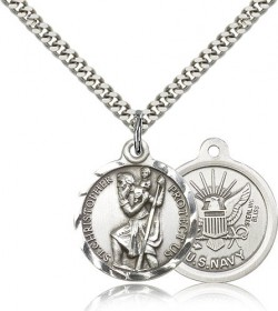 Round US Navy Saint Christopher Medal - Nickel Size [CM2122]