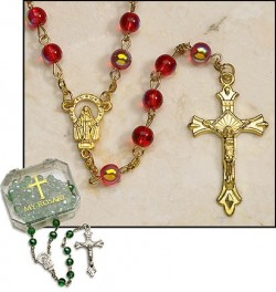 Ruby Gold Plated Rosary - 4 per order [MIL2056]