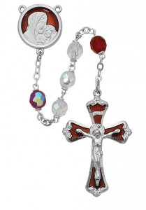 Ruby Red Enamel Rosary with Red and White Beads [MVRB1068]