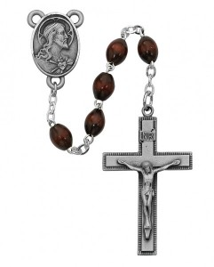 Sacred Heart Brown Wood Rosary [MVRB1117]