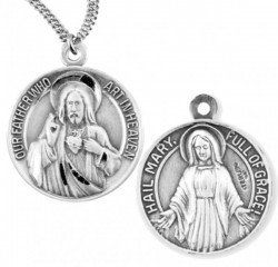 Sterling Silver Sacred Heart of Jesus and Blessed Mary Medal [REM2076]