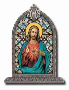 Sacred Heart of Jesus Glass Art in Arched Frame [HFA8303]