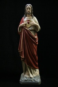 Sacred Heart Statue, Hand Painted - 33.5 inch [VIC3124]