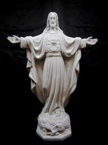 Sacred Heart Statue White Marble Composite - 24 inch [VIC4005]