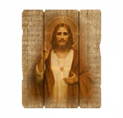 Sacred Heart Wall Plaque in Distressed Wood [HFA4617]