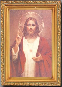 Sacred Heart of Jesus Antique Gold Framed Print [HFA0073]