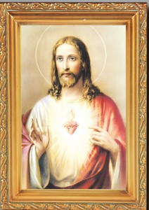 Sacred Heart of Jesus Antique Gold Framed Print [HFA0075]