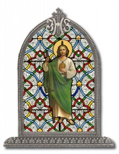 Saint Jude Glass Art in Arched Frame [HFA8309]