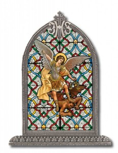 Saint Michael Glass Art in Arched Frame [HFA8310]