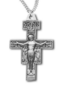 San Damiano Crucifix Pendant Sterling Silver - 4 sizes available [RECRX1000]