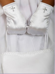 Satin Communion Gloves with Rhinestone Cross [TTG003]