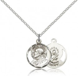 Small Open-Cut Scapular Round Medal Necklace [CM2274]