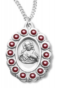 Red Glass Stone Border Scapular Medal Sterling Silver [REM2131]
