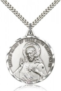 Men's Large Round Scapular Medal with Etched Border [CM2143]