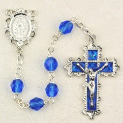 September Birthstone Rosary (Sapphire) - Rhodium Plated [MVR021]