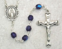 September Birthstone Rosary (Sapphire) - Sterling Silver [MVR009]