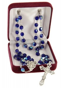 September Dark Blue Aurora Glass Bead Rosary [MVRB1130]