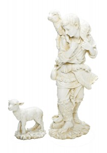 "Shepherd & Lamb Statue in White 23.75"" H for 27"" Scale Nativity Set [RM0451]"