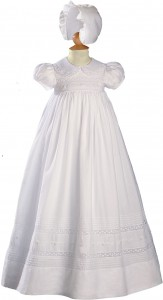 Short Sleeve Cotton and Cluny Lace Baptism Gown [LTM1003]