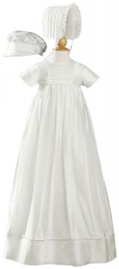 Short Sleeve Silk Dupioni Family Christening Gown [LTM011]