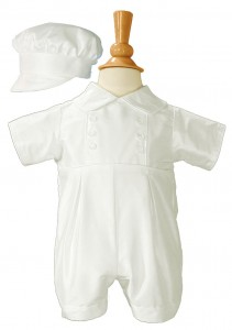 Silk Baptism Romper with Button Accents [LTM071]