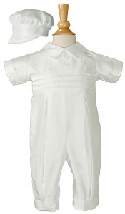 Silk Dupioni Baptism Coverall with Peter Pan Collar [LTM070]