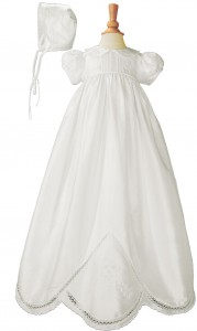 Silk Dupioni Christening Gown with Hand Embroidery [LTM009]