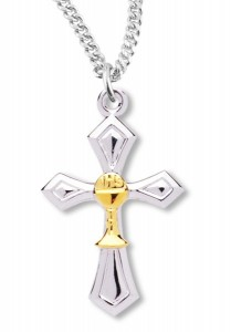 Silver Cross Pendant with Gold Chalice Centerpiece [REC0009]