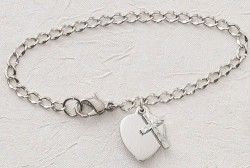 "Silver Heart and Cross First Communion Bracelet - 6 1/2""L [MVC0022]"