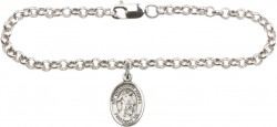 Silver Plated Rolo Bracelet with Guardian Angel Medal [BC0102]