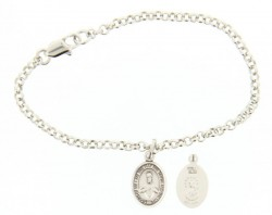 Silver Plated Rolo Bracelet with Scapular Medal [BC0100]