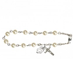 Silver Plated Rosary Bracelet with Pearl Beads [BLRB0905]