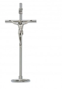 "Silver Standing Papal Crucifix with Metal Base - 6 1/2""H [MVCR1048]"