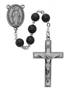 Simple Black Bead Rosary [MVRB1158]