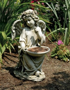Sitting Garden Angel Holding Bird Feeder Statue 14.5 Inches [GAR4012]