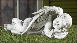"Sleeping Angel Garden Statue - 12.25""W [GFC0009]"
