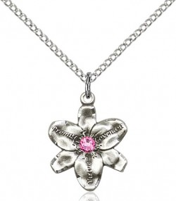 Small Five Petal Chastity Pendant with Birthstone Center [BLST0088]