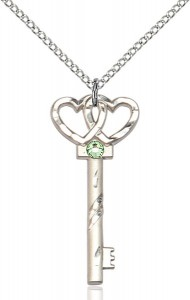 Small Key with Double Heart Pendant and Birthstone [BLST6213]