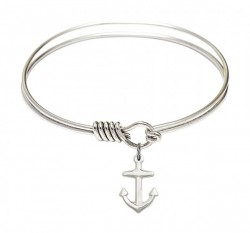 Smooth Bangle Bracelet with a Anchor Charm [BRS4158A]